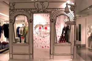 Ilustrowane dekoracje w przestrzeni sklepowej